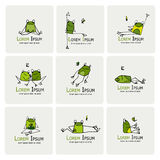 Funny frogs collection, sketch for your design Stock Photography