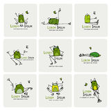 Funny frogs collection, sketch for your design Royalty Free Stock Photo