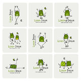 Funny frogs collection, sketch for your design Stock Image