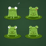 Funny frogs set two Stock Photos
