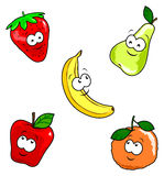 Funny fruit. Funny illustration that depicts five different fruits with human faces Royalty Free Stock Photo