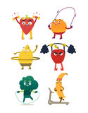 Funny fruit and berry characters doing sport. Funny comic, cartoon style fruits and berries doing sport, fitness exercises, set of vector illustrations isolated Royalty Free Stock Photography