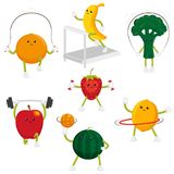 Funny fruit and berry characters doing sport. Cute and funny fruit and berry characters doing sport, fitness exercises, set of flat cartoon style vector vector illustration