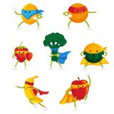 Funny fruit and berry hero, superhero characters. In capes and masks, set of flat style cartoon vector illustrations isolated on white background royalty free illustration