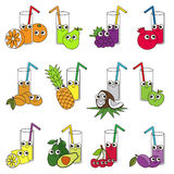 Funny Fruit and Berry Juices set, the collection of coloring book template, the group of outline digital elements Royalty Free Stock Photo