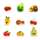 Funny Fruit Cartoon. Cartoon Fruit Characters. Funny Fruit Cartoon. Collection of nine funny cartoon fruits royalty free illustration