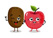 Funny fruit  cartoon characters. Cute fruit cartoon characters  on white background  illustration. Funny cherry and kiwi emoticon face icon collection. Happy Royalty Free Stock Photo