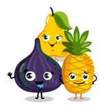 Funny fruit  cartoon characters. Cute fruit cartoon characters  on white background  illustration. Funny pineapple, pear, figs emoticon face icon collection Stock Image