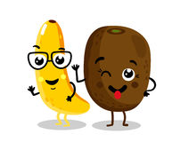 Funny fruit  cartoon characters. Cute fruit cartoon characters  on white background vector illustration. Funny kiwi and banana emoticon face icon collection Stock Photo