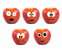 Funny fruit character Red Apples Stock Photos