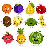 Funny fruit characters cartoon isolated Stock Image