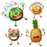 Funny fruit characters isolated on white background. Cheerful food emoji. Cartoon vector illustration: crazy watermelon, wow apricot, cool coconut, dancing vector illustration