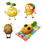 Funny fruit characters isolated on white background. Cheerful food emoji vector illustration