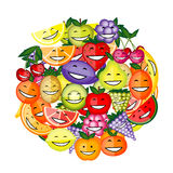 Funny fruit characters smiling together Royalty Free Stock Photos