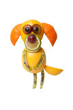 Funny fruit dog in begging pose. On white background Royalty Free Stock Photography