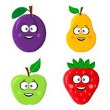 Funny fruit emoticon. Plum, pear, apple and strawberry. Vector illustration royalty free illustration