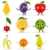 Funny fruit face and cartoon fruit characters. Cartoon funny fruits characters and fruits face. Flat design, vector illustration, vector Royalty Free Stock Photos