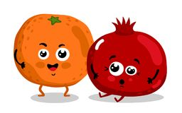 Funny fruit isolated cartoon characters. Cute fruit cartoon characters isolated on white background  illustration. Funny orange and pomegranate emoticon face Stock Photos