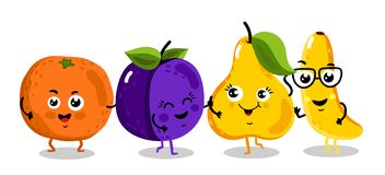 Funny fruit isolated cartoon characters. Cute fruit cartoon characters isolated on white background  illustration. Funny orange, plum, pear, banana emoticon face Royalty Free Stock Photography