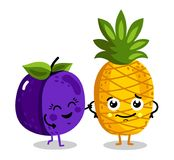 Funny fruit isolated cartoon characters. Cute fruit cartoon characters isolated on white background  illustration. Funny pineapple and plum emoticon face icon Stock Image