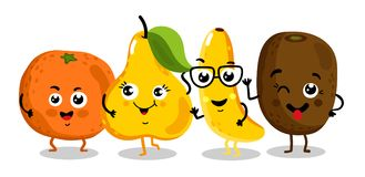 Funny fruit isolated cartoon characters. Cute fruit cartoon characters isolated on white background  illustration. Funny orange, kiwi, pear, banana emoticon face Stock Images