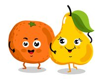 Funny fruit isolated cartoon characters. Cute fruit cartoon characters isolated on white background  illustration. Funny orange and pear emoticon face icon Royalty Free Stock Image