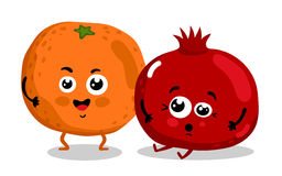 Funny fruit isolated cartoon characters Royalty Free Stock Photos