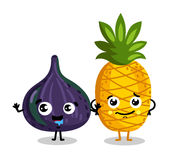Funny fruit isolated cartoon characters. Cute fruit cartoon characters isolated on white background vector illustration. Funny pineapple and figs emoticon face Stock Images