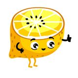 Funny fruit lemon isolated cartoon character. Cute fruit lemon cartoon character isolated on white background illustration. Funny positive and friendly lemon Stock Photography