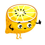 Funny fruit lemon isolated cartoon character Royalty Free Stock Images