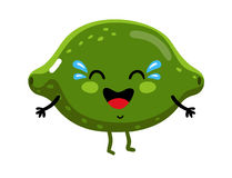 Funny fruit lime isolated cartoon character. Cute fruit lime cartoon character isolated on white background vector illustration. Funny positive and friendly lime Royalty Free Stock Image