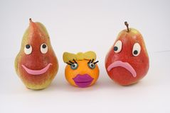 Funny fruit are manikins Stock Photography