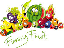 Funny fruit - many fruit with smile and happy face - vector fruit Royalty Free Stock Photo
