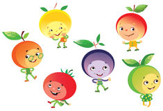 Funny fruit people. Vector illustrayion of funny fruits and tomato personages vector illustration