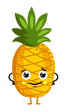 Funny fruit pineapple isolated cartoon character. Cute fruit pineapple cartoon character isolated on white background vector illustration. Funny positive and Stock Image