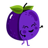 Funny fruit plum isolated cartoon character. Cute fruit plum cartoon character isolated on white background vector illustration. Funny positive and friendly kiwi Stock Images