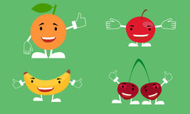 Funny fruit. A set of characters smiling fruit banana, orange, cherry, apple Royalty Free Stock Photography