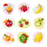 Funny Fruit Set. Of Colorful Flat Vector Icons In Childish Cartoon Style  On Different Backgrounds Royalty Free Stock Images
