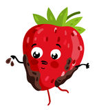 Funny fruit strawberry isolated cartoon character. Cute fruit strawberry cartoon character isolated on white background vector illustration. Funny positive and Stock Image