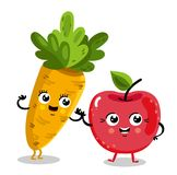 Funny fruit and vegetable cartoon characters. Cute fruit and vegetable cartoon characters isolated on white background  illustration. Funny cherry and carrot Stock Photography