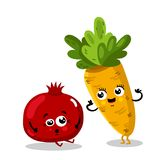 Funny fruit and vegetable cartoon characters. Cute fruit and vegetable cartoon characters isolated on white background  illustration. Funny pomegranate and Stock Photo