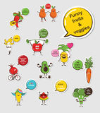 Funny fruit and vegetable face icon vector collection. Cartoon face food emoji.  Royalty Free Stock Photo