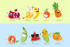 Funny fruit and vegetables - set of vector cartoon characters illustrations. On yellow and blue background. Cute emoji of pomegranate, watermelon, corn royalty free illustration