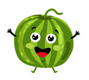 Funny fruit watermelon isolated cartoon character. Cute fruit watermelon cartoon character isolated on white background vector illustration. Funny positive and Royalty Free Stock Image