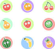 Funny fruits. Funny colorful fruit character set Royalty Free Stock Photos