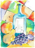 Funny Fruits. Bottle and fruits on a watercolour painting and ink lines, created and painted by the photographer Royalty Free Stock Image