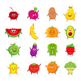 Funny Fruits And Vegetables Cartoon Characters Royalty Free Stock Photography