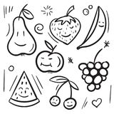 Fruits and berries pear, apple, banana, cherry, strawberry, watermelon and grape hand drawing on white background. Funny fruits and berries pear, apple, banana Royalty Free Stock Photography