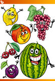 Funny fruits cartoon illustration set Stock Photo