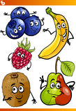 Funny fruits cartoon illustration set Stock Photos